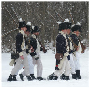 Members of Lacroix�s recreated militia company on the march at the 2005 Commemoration of the Batttle of the River Raisin.